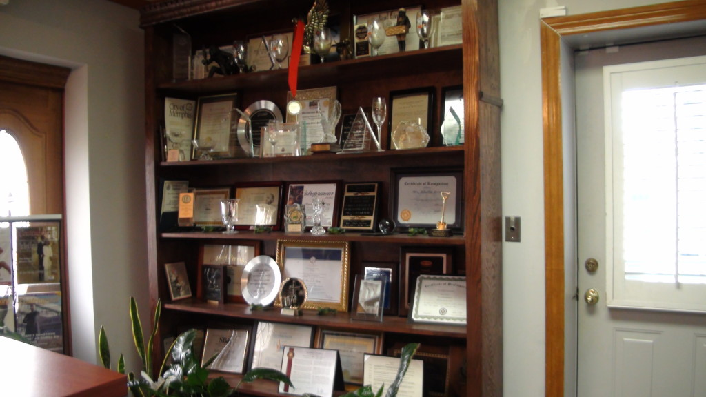 A display of trophies, awards, and plaques giving to the The Tennessee Tribune and it's publisher Rosetta Miller-Perry. (Photo By: Jason Luntz/Full Sail University)